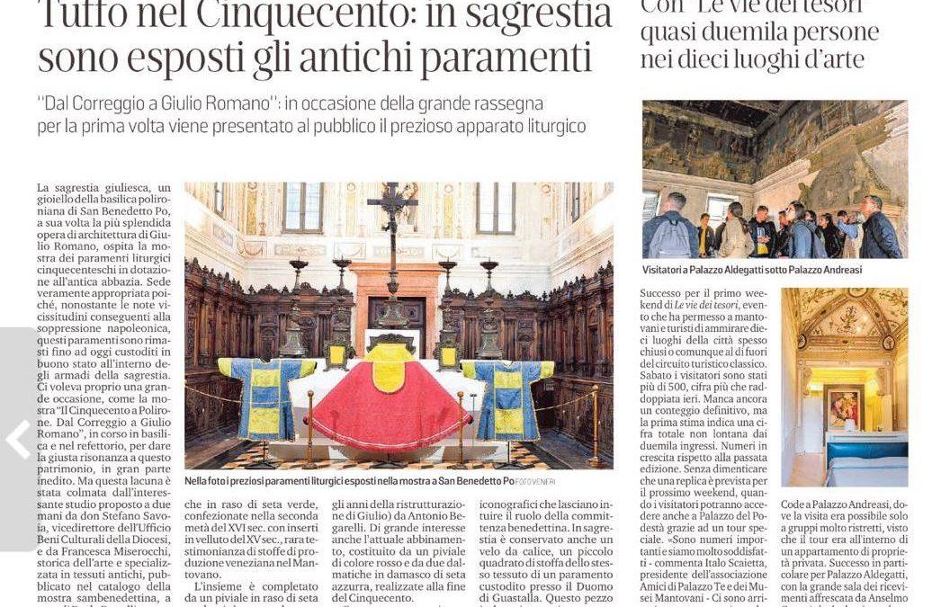 """Esposizione paramenti per la mostra """"Il cinquecento a Polirone. Da correggio a Giulio Romano"""""""
